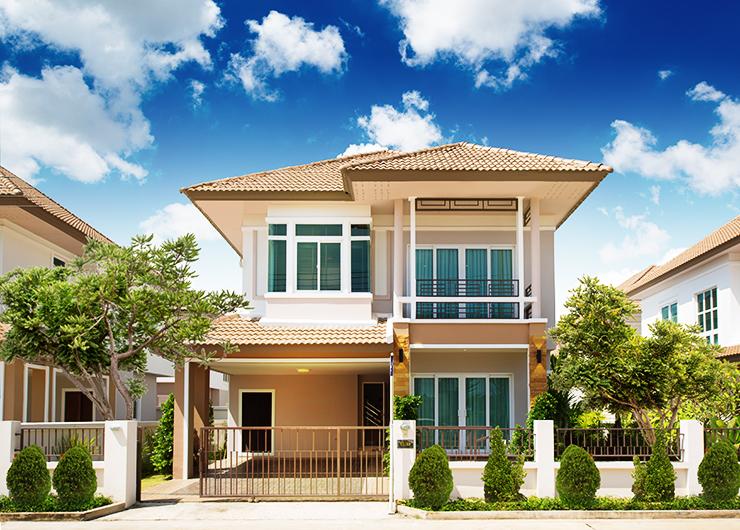 หน้าบ้าน บ้านเดี่ยว เซนสิริ โฮม สขุมวิท แยกเจ สัตหีบ ชลบุรี