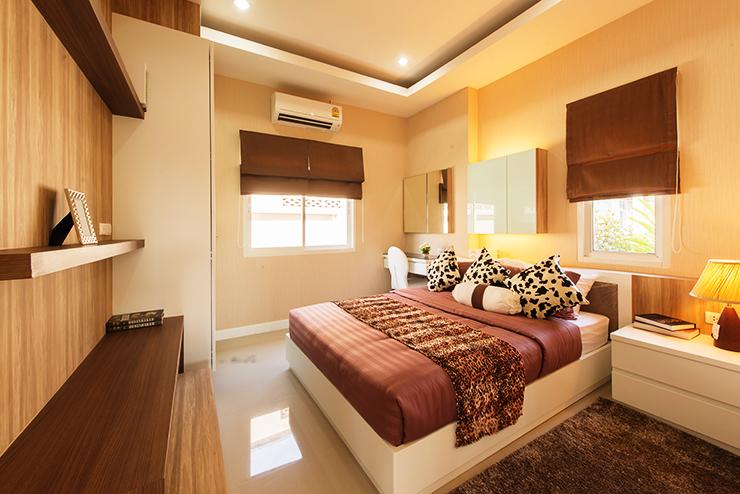 บรรยากาศห้องนอน บ้านเดี่ยว เซนสิริ โฮม สขุมวิท แยกเจ สัตหีบ ชลบุรี