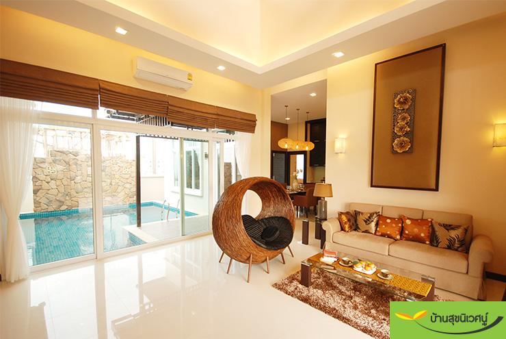 บรรยากาศห้องนั่งเล่น บ้านเดี่ยว สิริศา 16 - พัทยา ชลบุรี